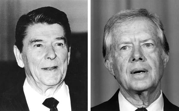 In 1980, Ronald Reagan (L) won the presidential election to become the 40th President of the United States.