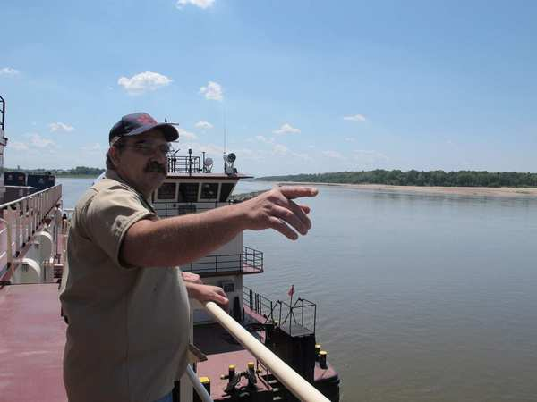 Frank Segree is captain of the U.S. Army Corps of Engineers' dredge Hurley. Dredging is being done to keep the river deep enough for vessels to navigate.