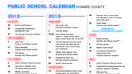 Howard County Public Schools calendar 2012-2013