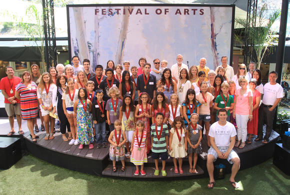 Junior Art Awards winners, jurors and Festival of Arts  representatives pose for a shot after the ceremony Sunday.