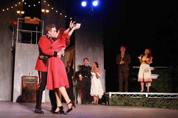 """Evelyn Carol Case, left, and Michael Nehring as Beatrice and Benedick in """"Much Ado About Nothing."""""""