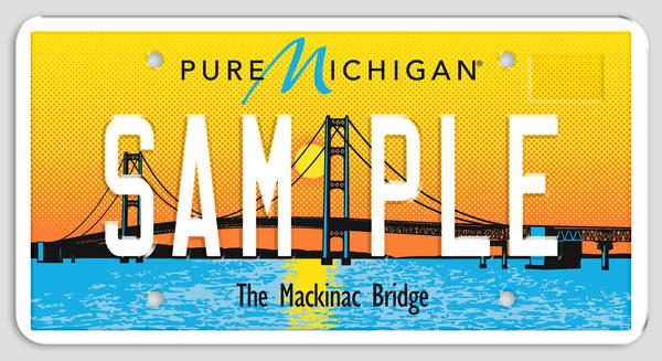 One of the two new license plates for Michigan drivers.