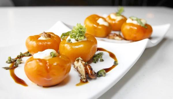 Mare's Orange Sweet Pepper platter, stuffed with goat cheese, walnuts and micro basil.