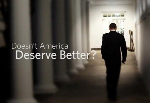 "A screenshot from Mitt Romney's new campaign ad, ""America Deserves Better."""