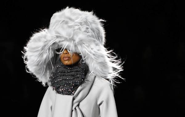 A model presents a creation at the Marc Jacobs Fall/Winter 2012 collection show during New York Fashion Week.