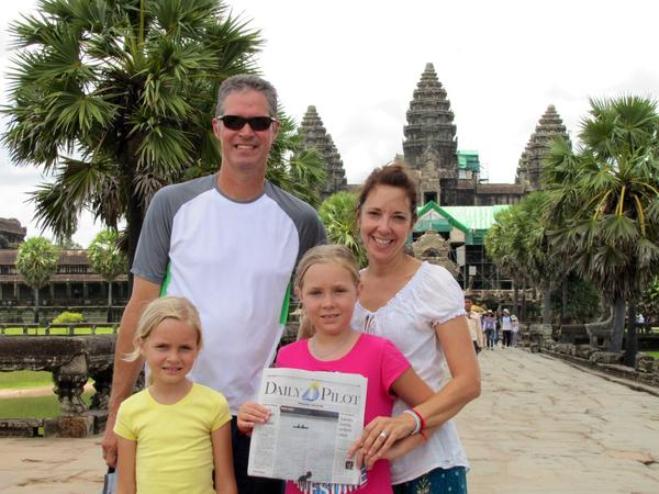 The Singley family -- Steve, Jeanne Anne, Scarlett and Lila -- at Angkor Wat, Cambodia.