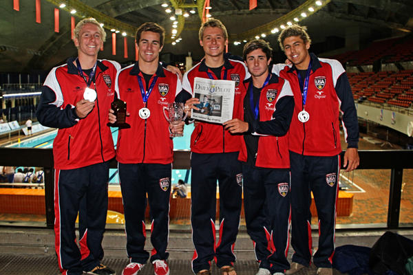 Kyle Trush, Chris Whitelegge, Dan Stevens, Curtis Fink and Reid Chase show off their silver medals at the Olympic Stadium in Montreal, Canada. They were part of the men's junior national water polo team that won the silver medal at the UANA Pan American Junior Championships.