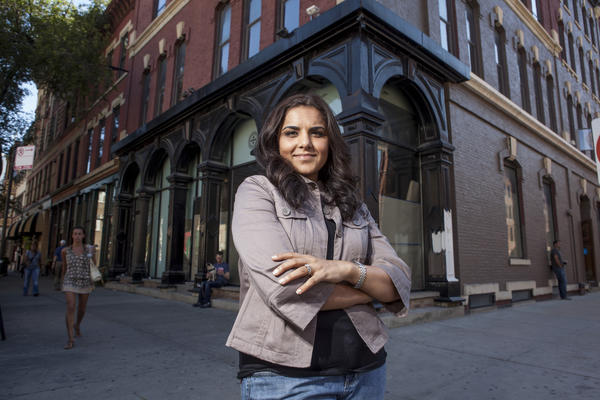 Alpana Singh stands in front of her upcoming River North restaurant The Boarding House.