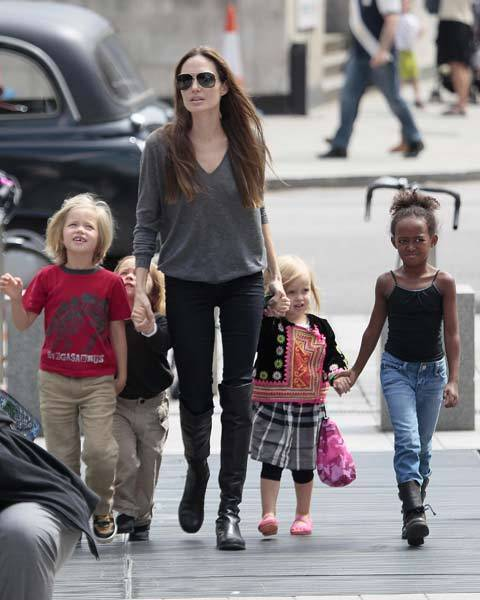Angelina Jolie sighted arriving at The London Aquarium with her children Shiloh, Knox, Vivienne and Zahara in London, England.