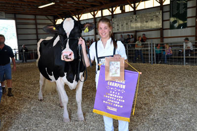 Ashley Stoltzfus of Berlin won supreme champion at the Somerset County Fair Dairy Show Wednesday