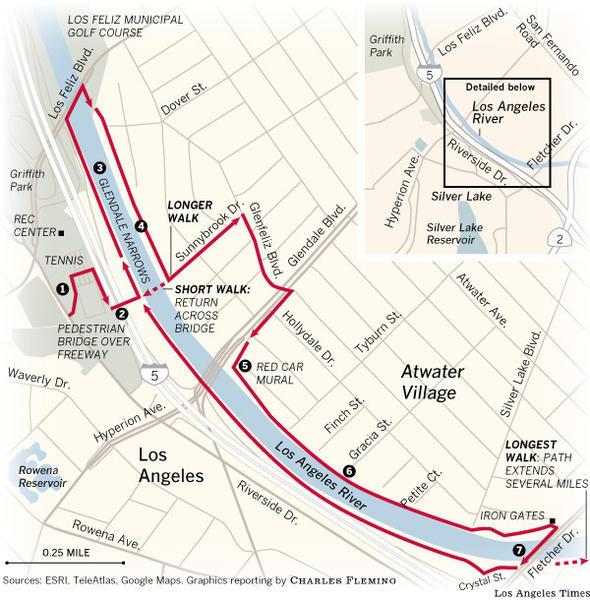 MAP Los Angeles River Walk Details Latimes - Los angeles river map