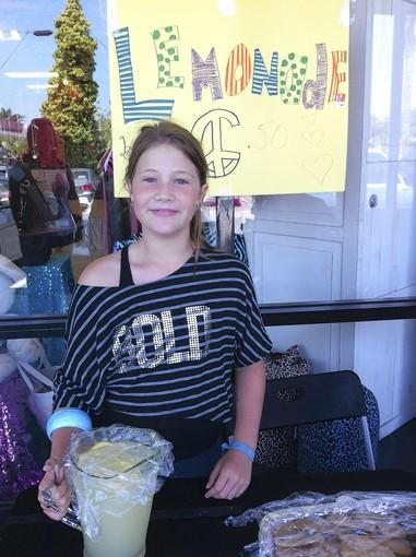 Madison Hall during a charity lemonade stand at Bold Girlz in Costa Mesa.