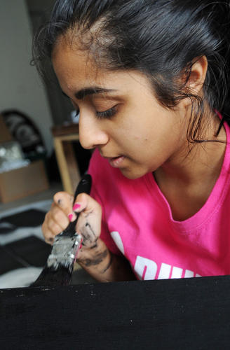 Avani Dalal, 19, of Macungie paints wood black for a bat box with paint donated by Sherwin-Williams. She is helping her sister Ruchi Dalal, 17, who is making the bat boxes for her Girl Scout Gold Award project. When the boxes are finished she will be donating the boxes to the Lehigh Valley Zoo.