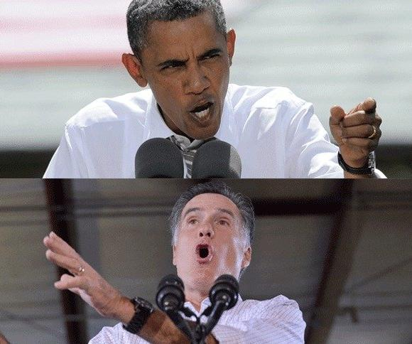 President Obama, top, and Mitt Romney