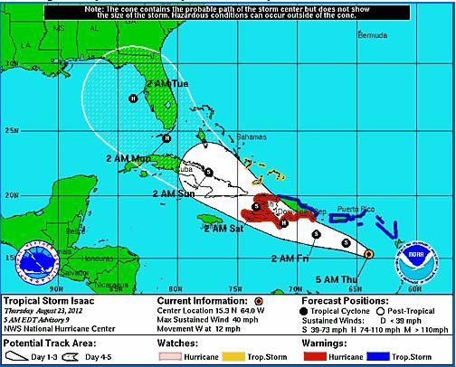 Tropical Storm Isaac's track as of 5 a.m. Thursday, Aug. 23, 2012