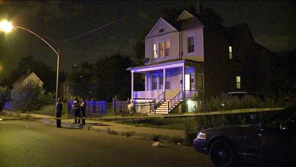 Chicago police on the scene of a shooting that left four people wounded.