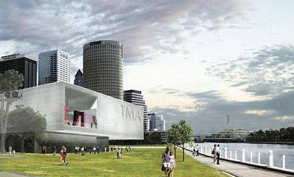 The new Tampa Museum of Art seen in this artist's rendering is designed by San Francisco-based, South African-born architect Stanley Saitowitz.<br>