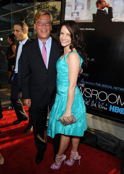 Writer Aaron Sorkin and actress Kristin Davis arrive at HBO's New Series 'Newsroom' Los Angeles Premiere at ArcLight Cinemas Cinerama Dome on June 20, 2012 in Hollywood, California.