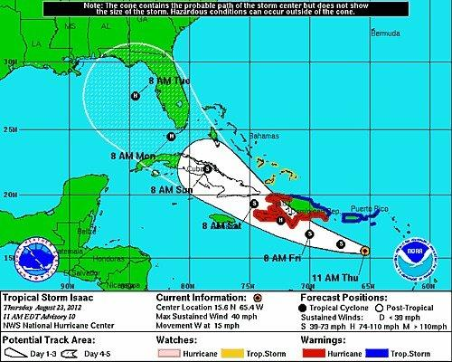 Tropical Storm Isaac is projected to approach the Keys as a hurricane on Monday.