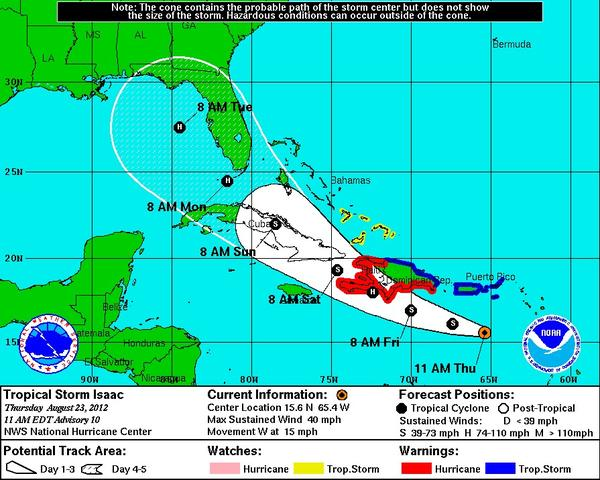 Tropical Storm Isaac continues to track toward the U.S., but there is disagreement over where it might make landfall.
