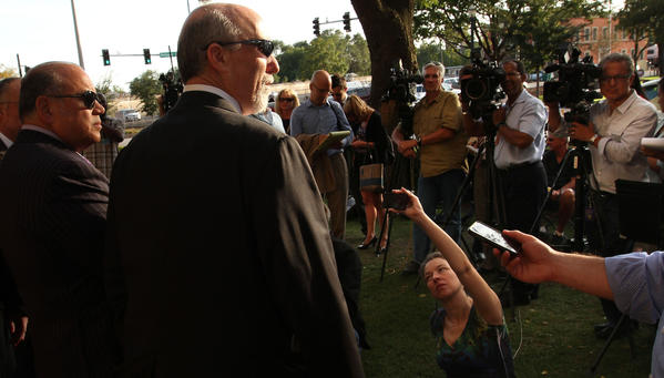 Joel Brodsky, the defense attorney for Drew Peterson, talks to reporters after Wednesday's court proceedings.
