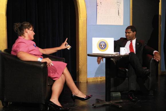 "Patrick Rowland as  Obama and Carol Bontakoe as his Aunt Carol in ""Barack All Night!"""