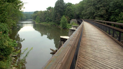 The Great Allegheny Passage crosses the Casselman River at Harnedsville.