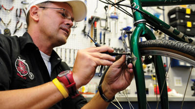 Shawn Ransford teaches bike safety and repair at the Bel Air Bike Shop.
