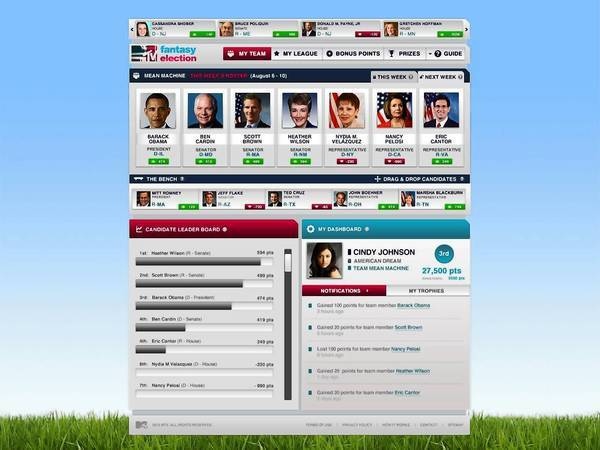 "Screenshot of the MTV game ""Fantasy Election - My Team."""