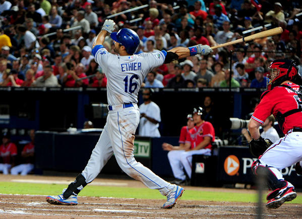 Andre Ethier belts a home run against the Atlanta Braves.