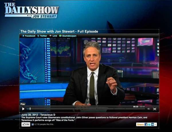 Almost 1 in 5 younger voters surveyed get news daily or more often from Comedy Central hosts Jon Stewart, pictured, and Stephen Colbert – but they rate the comedians lower in trustworthiness than traditional local news sources.