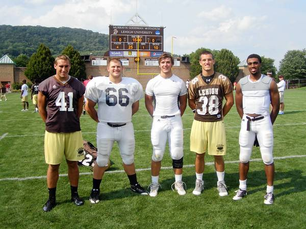 Lehigh Football players (left to right) Billy Boyko, Matt Lippincott, Matt Laub, Noah Robb and Josh Parris.