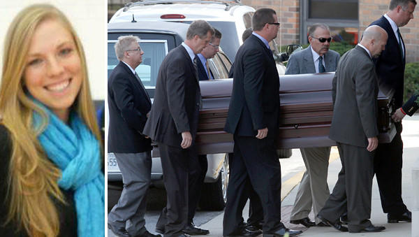 Megan Boken's casket is carried into St. Michael Church for her funeral in Wheaton Thursday. Boken, pictured at left, was killed during a robbery in St. Louis.