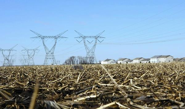The proposed Prairie Parkway would have run north and south, parallel to the power lines, through miles of farmland.