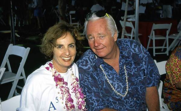 "Terry ""Tubesteak"" Tracy, right, a Malibu surfer who served as the model for the Big Kahuna in the original ""Gidget"" novel and movie, is shown with Kathy Kohner Zuckerman, the original Gidget, in 1997."