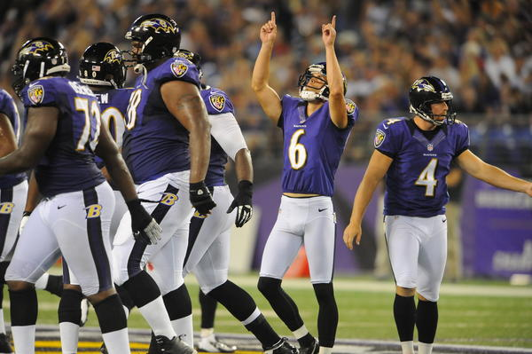Ravens kicker Justin Tucker (6) points skyward after making a 53-yard-field goal in the second quarter against the Jacksonville Jaguars. Tucker also converted a 33-yarder in the first quarter and made all six extra-point attempts.