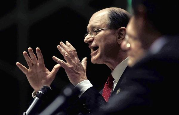 Rep. Brad Sherman makes a point during a debate with Rep. Howard Berman and GOP candidate Mark Reed in Tarzana earlier this year.