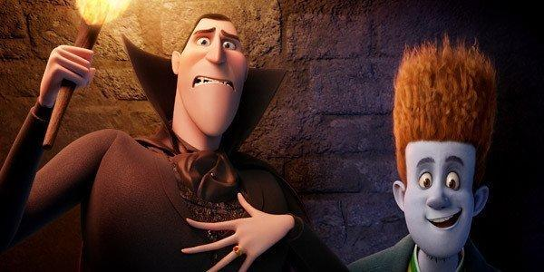 "Dracula, voiced by Adam Sandler, left, and Johnnystein, voiced by Andy Samberg in ""Hotel Transylvania."""