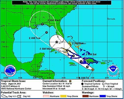 Tropical Storm Isaac's track as of 5 a.m. Friday, Aug. 24, 2012