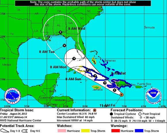 Tropical Storm Isaac forecast