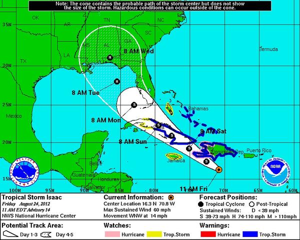 Tropical Storm Isaac is expected to stay a few hundred miles off Florida's west coast before making landfall on the panhandle.