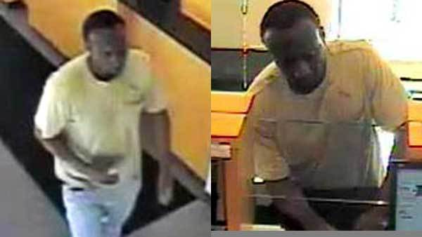 Photos of the suspect in a bank robbery at 800 N. State St. Friday.
