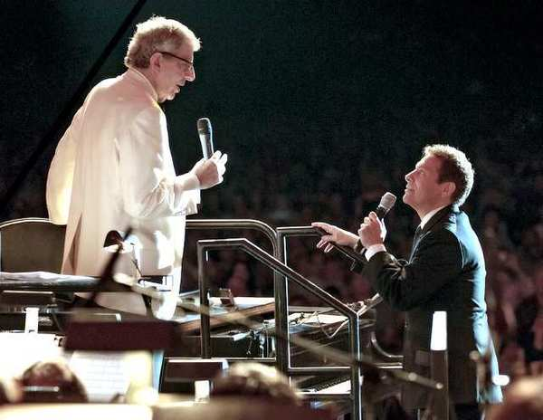 Marvin Hamlisch (left) with Michael Feinstein at the July 21st concert of the Pasadena POPS at the Los Angeles County Arboretum. It was the last concert Hamlisch performed before his death.