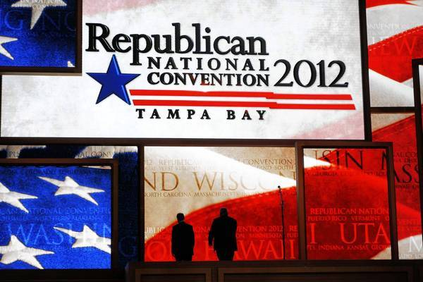 The completed stage for the upcoming Republican National Convention in Tampa, Fla.