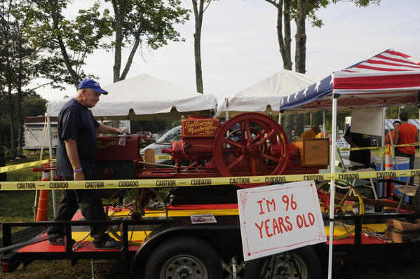 "Fred Messenger of Terryville with his 1916 Masterpiece Six engine at the Terryville Country Fair. ""Been in my family since 1916,"" he said. It was bought new by his grandfather."