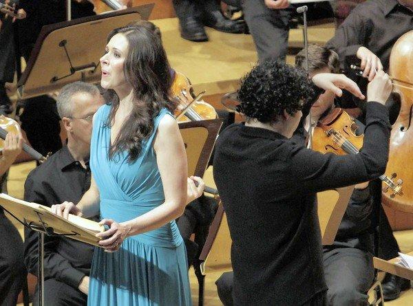 """Tamara Mumford,contralto, sings as Gustavo Dudamel conducts the L.A. Phil in the premiere of John Adams' """"The Gospel According to the Other Mary"""" at Walt Disney Concert Hall."""