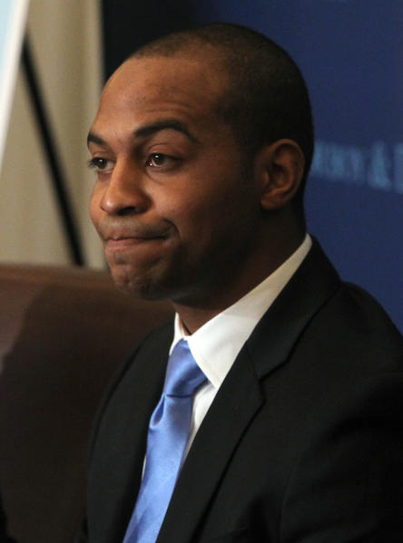 Tregg Duerson, son of former Chicago Bear Dave Duerson, discusses his family's lawsuit against the NFL on Feb. 23, 2012.