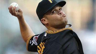 Pirates starting pitcher Wandy Rodriguez delivers a pitch in the first inning Friday against the Brewers.