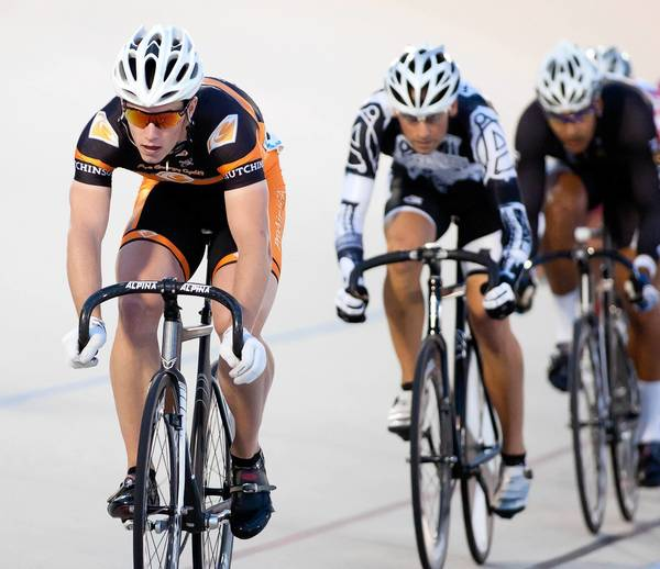 Perkasie's Matthew Baranoski leads the pack during the Pro Men's 10 Lap Scratch race on Friday night during the 2012 World Series of Bicycling at the Valley Preferred Cycling Center in Trexlertown.