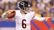 Jay Cutler and Brandon Marshall connected on their first Chicago Bears touchdown pass in the first quarter, and the Bears rallied after a ragged first half Friday to beat the defending Super Bowl champion New York Giants 20-17 in their third preseason game in East Rutherford, N.J.
